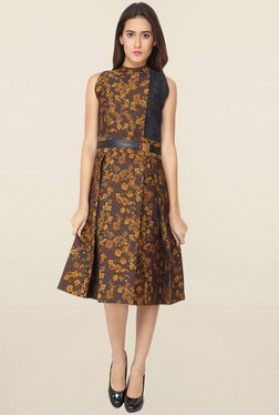 Soie Brown Floral Print Dress