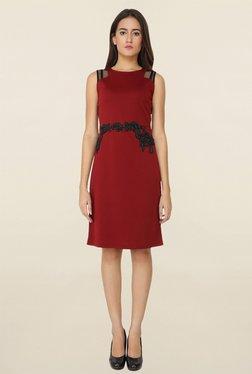 Soie Maroon Lace Dress - Mp000000001112418