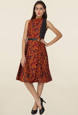 Soie Orange Floral Print Dress