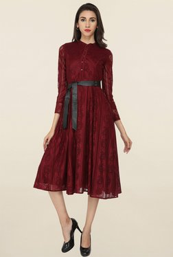 Soie Maroon Lace Dress