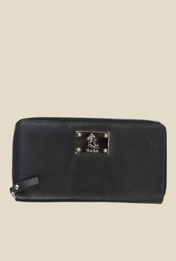 Kara Black Solid Leather Wallet