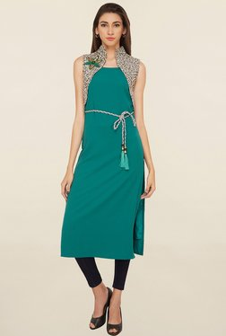 Soie Teal Solid Long Tunic With Jacket