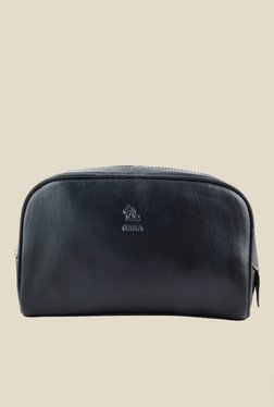 Kara Black Solid Leather Toiletry Kit