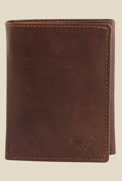 Bern Brown Solid Tri-Fold Leather Wallet
