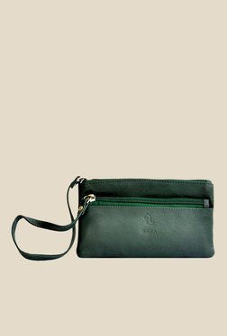 Kara Dark Green Solid Leather Wristlet