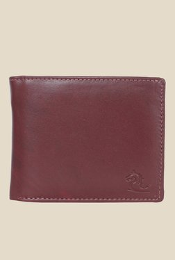 Kara Maroon Solid Bi-Fold Leather Wallet