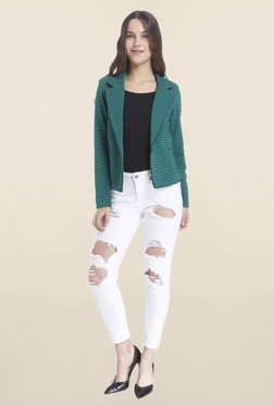 Vero Moda Green Striped Blazer
