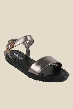 Solovoga Pewter Ankle Strap Sandals