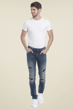 Jack & Jones Dark Blue Ripped Jeans