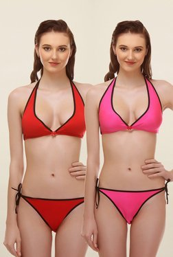 Aruba Pink & Red Non Wired Bikini (Pack Of 2)