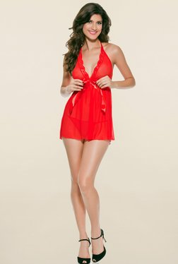N-Gal Red Solid Babydoll With G String