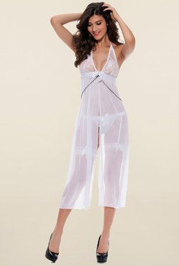 N-Gal White Lace Babydoll With G String & Garters