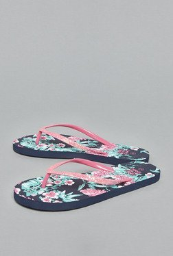Head Over Heels by Westside Fuchsia Floral Flip Flops