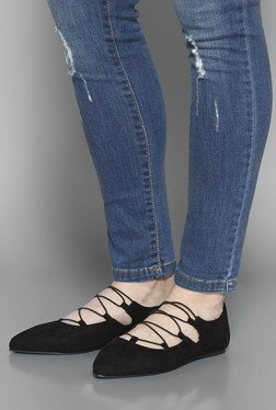 Head Over Heels by Westside Black Lace Up Flat Shoes