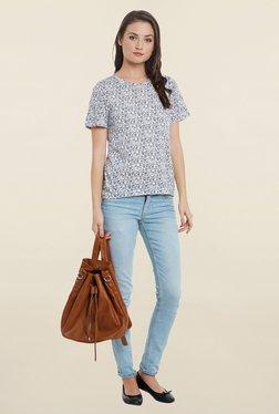 Cherymoya White Floral Print T Shirt
