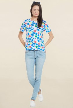 Cherymoya White Floral Print T Shirt - Mp000000001119719