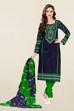 Salwar Studio Navy & Green Printed Cotton Dress Material