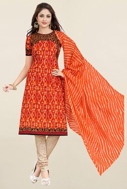 Salwar Studio Orange & Beige Printed Cotton Dress Material