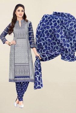 Salwar Studio Grey & Navy Printed Cotton Dress Material - Mp000000001118918