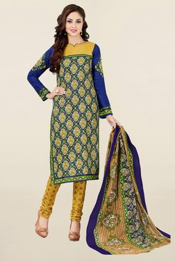 Salwar Studio Mustard & Blue Printed Cotton Dress Material