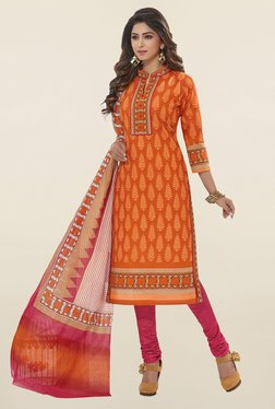 Salwar Studio Orange & Pink Printed Cotton Dress Material