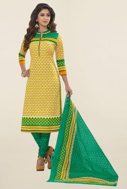 Salwar Studio Yellow & Teal Printed Cotton Dress Material