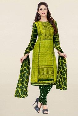 Salwar Studio Green Printed Cotton Dress Material