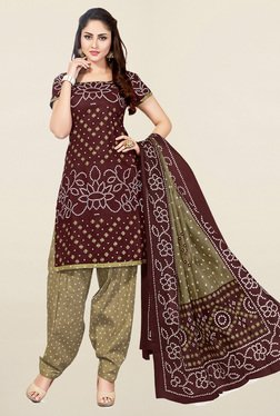 Salwar Studio Brown & Beige Bandhani Cotton Dress Material