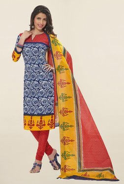 Salwar Studio Blue & Red Batik Print Cotton Dress Material