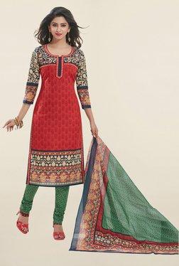 Salwar Studio Red & Green Printed Cotton Dress Material