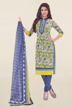 Salwar Studio Olive & Blue Printed Cotton Dress Material
