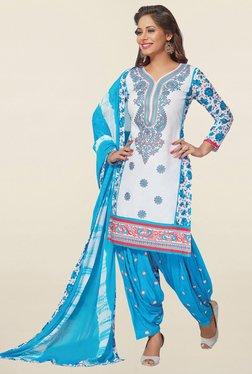 Salwar Studio White & Blue Cotton Unstitched Patiala Suit