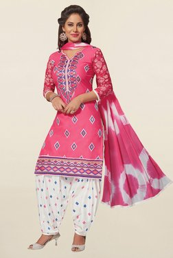 Salwar Studio Pink & White Cotton Unstitched Patiala Suit