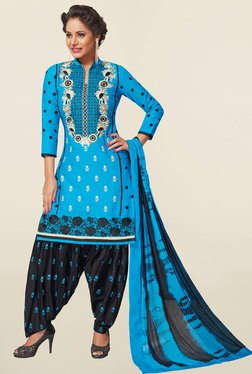 Salwar Studio Blue & Black Cotton Unstitched Patiala Suit