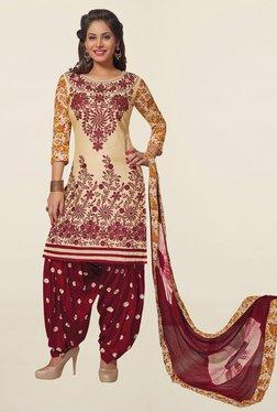 Salwar Studio Beige & Maroon Cotton Unstitched Patiala Suit