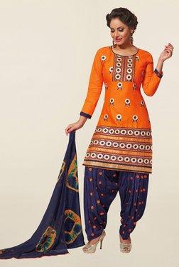 Salwar Studio Orange & Navy Cotton Unstitched Patiala Suit