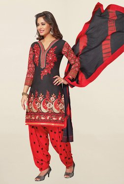 Salwar Studio Black & Red Cotton Unstitched Patiala Suit