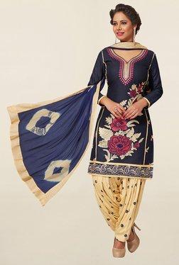 Salwar Studio Navy & Beige Cotton Unstitched Patiala Suit
