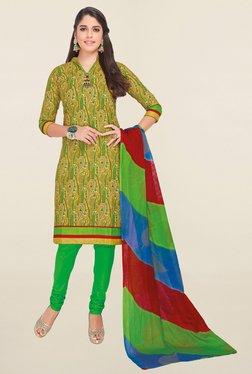 Salwar Studio Beige & Green Printed Cotton Dress Material