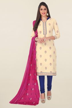 Salwar Studio Beige & Blue Printed Cotton Dress Material