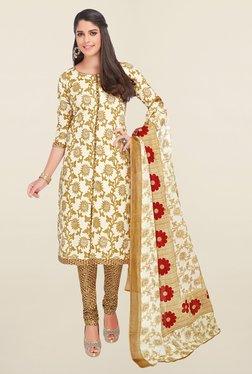 Salwar Studio Beige Floral Print Cotton Dress Material