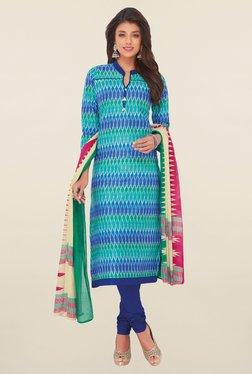 Salwar Studio Blue & Green Printed Cotton Dress Material