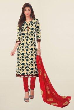 Salwar Studio Beige & Red Floral Print Cotton Dress Material