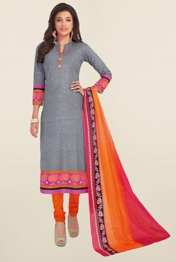 Salwar Studio Grey & Orange Printed Cotton Dress Material