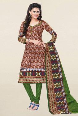 Salwar Studio Brown & Green Printed Cotton Dress Material