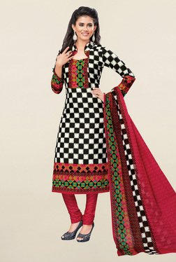 Salwar Studio Black & Maroon Checks Cotton Dress Material