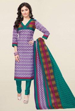 Salwar Studio Purple & Green Printed Cotton Dress Material