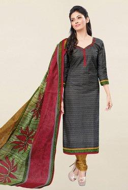 Salwar Studio Grey & Mustard Printed Cotton Dress Material