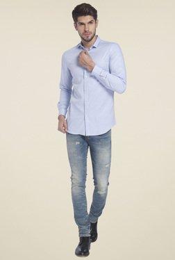 Jack & Jones Blue Slim Fit Full Sleeves Shirt