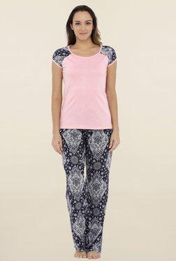 Heart 2 Heart Pink & Navy Solid Pyjama Set